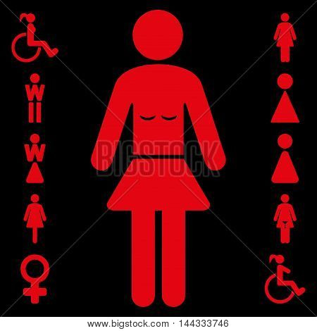 Lady icon. Glyph style is flat iconic symbol, red color, black background.