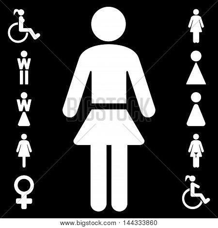 Lady icon. Glyph style is flat iconic symbol, white color, black background.