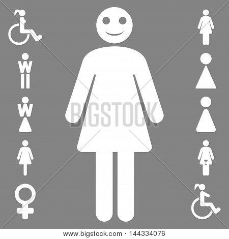 Lady icon. Glyph style is flat iconic symbol, white color, gray background.