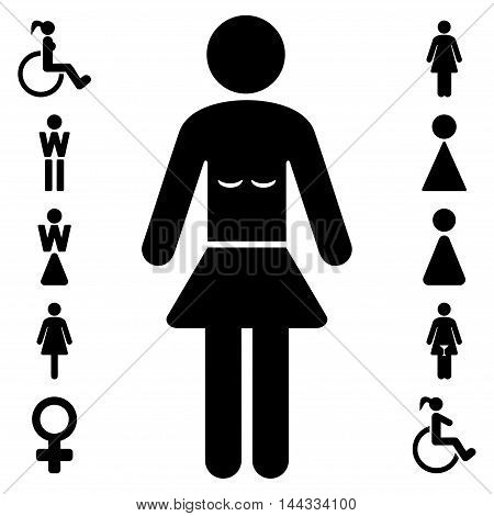 Lady icon. Glyph style is flat iconic symbol, black color, white background.