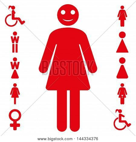 Lady icon. Glyph style is flat iconic symbol, red color, white background.
