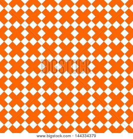 Tile orange and white x cross vector pattern