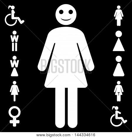 Lady icon. Vector style is flat iconic symbol, white color, black background.