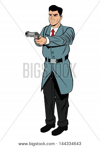 Detective police man gun revolver pop art comic cartoon icon. Colorful and isolated design. Vector illustration