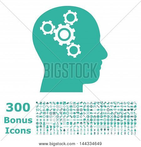 Brain Mechanics icon with 300 bonus icons. Vector illustration style is flat iconic bicolor symbols, cobalt and cyan colors, white background.
