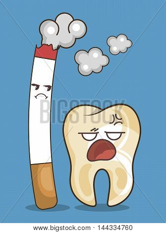 cigarette and tooth character icon vector illustration graphic