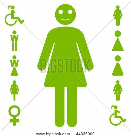 Lady icon. Vector style is flat iconic symbol, eco green color, white background.