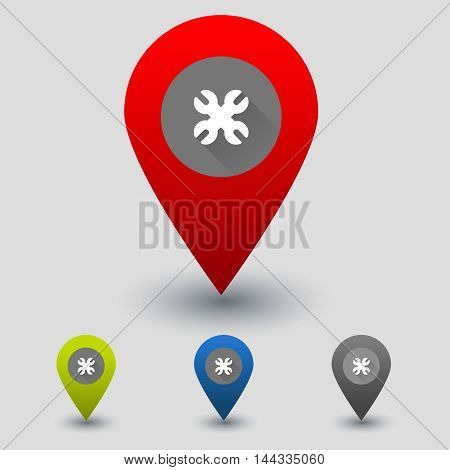 Colorful navigation signs with flat wrench. Vector repair shop navigation sign