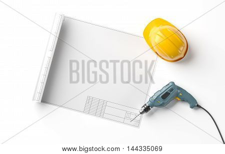 blueprint, helmet and drill on white isolated background, top view, 3D rendering