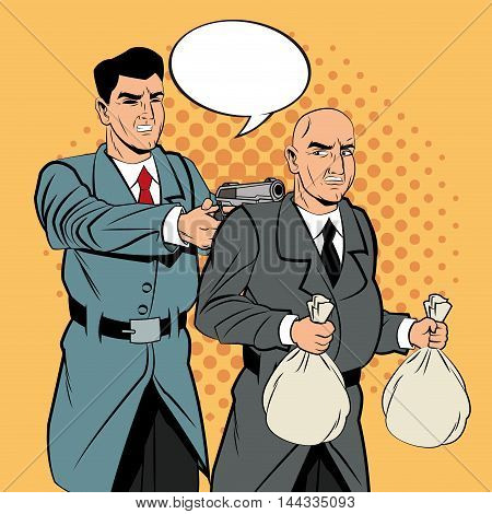 Detective police thief man bubble money bag gun revolver pop art comic cartoon icon. Colorful design. Vector illustration