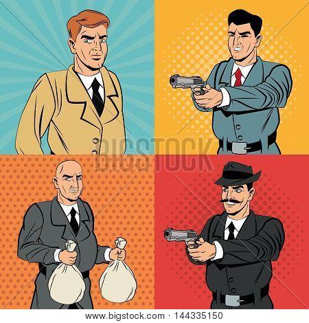 Detective police thief man money bag gun revolver pop art comic cartoon icon. Colorful design. Vector illustration