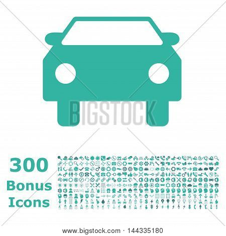 Car icon with 300 bonus icons. Vector illustration style is flat iconic bicolor symbols, cobalt and cyan colors, white background.