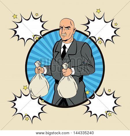 Thief money bag man bubble pop art comic cartoon icon. Colorful design. Vector illustration