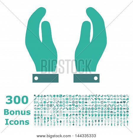 Care Hands icon with 300 bonus icons. Vector illustration style is flat iconic bicolor symbols, cobalt and cyan colors, white background.