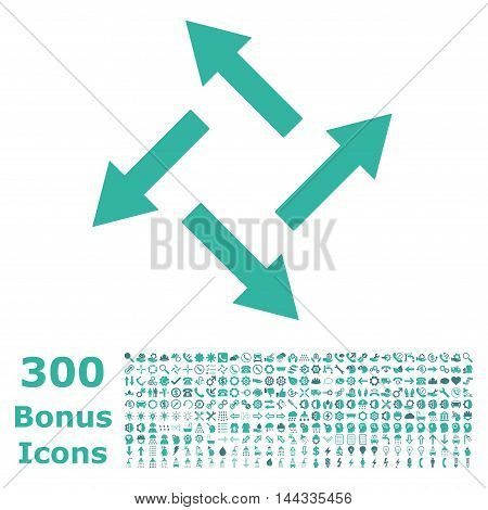 Centrifugal Arrows icon with 300 bonus icons. Vector illustration style is flat iconic bicolor symbols, cobalt and cyan colors, white background.
