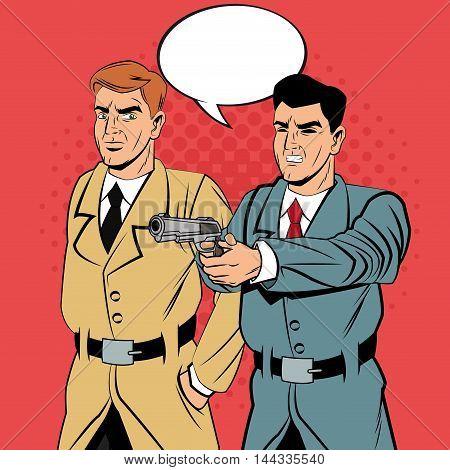 Detective police man bubble gun revolver pop art comic cartoon icon. Colorful design. Vector illustration