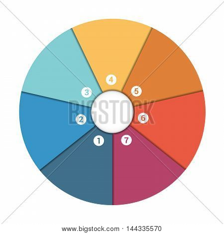 Colourful In The Form Of Flower Petals Around Circle. Template Infographic 7 Position. Pie Chart
