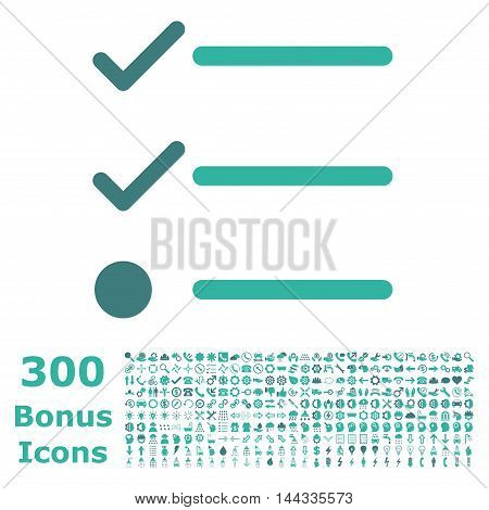 Checklist icon with 300 bonus icons. Vector illustration style is flat iconic bicolor symbols, cobalt and cyan colors, white background.