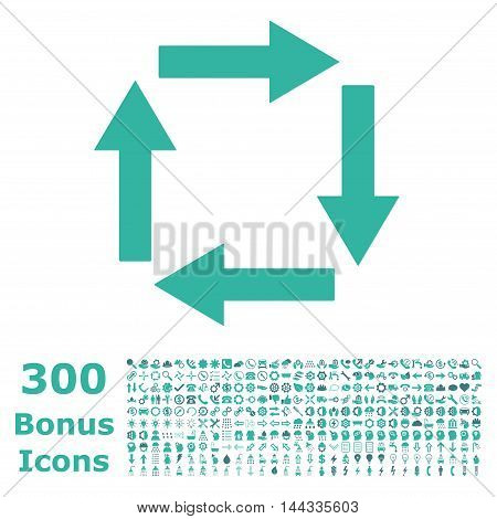 Circulation Arrows icon with 300 bonus icons. Vector illustration style is flat iconic bicolor symbols, cobalt and cyan colors, white background.
