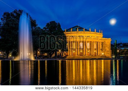 Stuttgart Staatstheater Twilight Blue Sky Moon Reflection Water