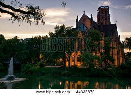 Stuttgart Feuersee Church Sunset Afternoon Germany Religion