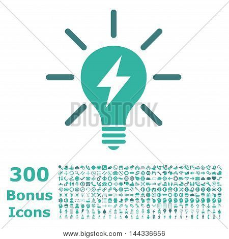 Electric Light Bulb icon with 300 bonus icons. Vector illustration style is flat iconic bicolor symbols, cobalt and cyan colors, white background.