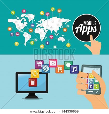 smartphone computer map mobile apps application online icon set. Colorful and flat design. Vector illustration