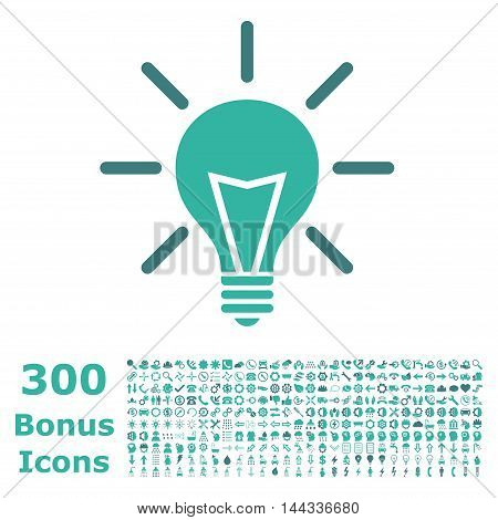 Electric Light icon with 300 bonus icons. Vector illustration style is flat iconic bicolor symbols, cobalt and cyan colors, white background.