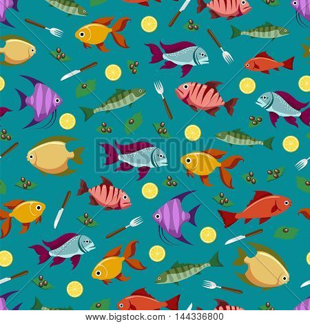 Colorful seamless pattern with fish lemon and olive. Sea food pattern vector design