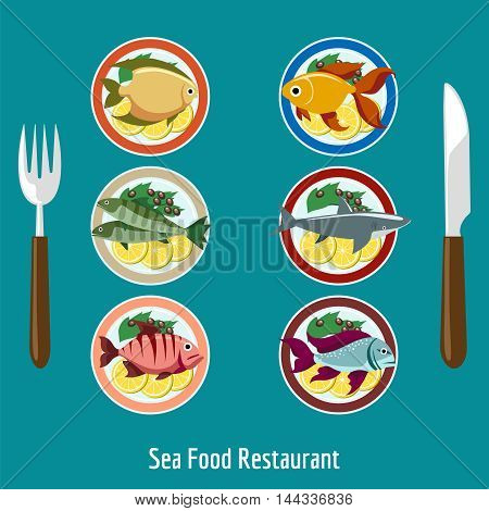 Set of fish dishes, fish on the plate with garnish. Sea food restaurant icons menu vector illustration