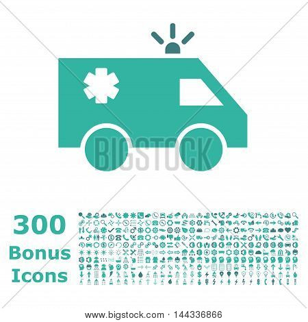 Emergency Car icon with 300 bonus icons. Vector illustration style is flat iconic bicolor symbols, cobalt and cyan colors, white background.