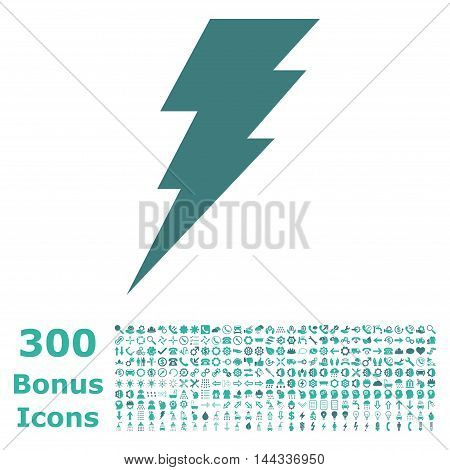 Execute icon with 300 bonus icons. Vector illustration style is flat iconic bicolor symbols, cobalt and cyan colors, white background.