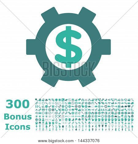 Financial Settings icon with 300 bonus icons. Vector illustration style is flat iconic bicolor symbols, cobalt and cyan colors, white background.