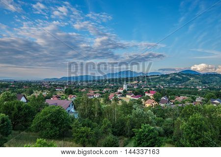 Aerial view of village of Bran commune area in Romania