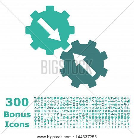 Gear Integration icon with 300 bonus icons. Vector illustration style is flat iconic bicolor symbols, cobalt and cyan colors, white background.