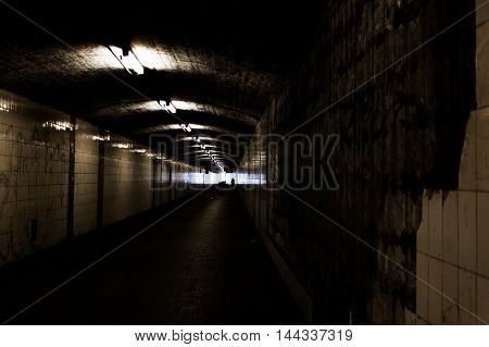 Bright Light at End of Dark Tunnel Tile