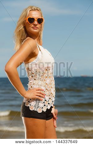 Pretty Girl On Beach.