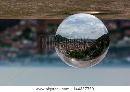 Glass Sphere Abstract Perspective Heidelberg Germany Cityscape