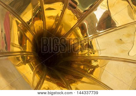 Golden old gramophone horn for playing music