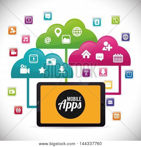 tablet cloud mobile apps application online icon set. Colorful and flat design. Vector illustration