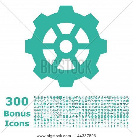 Gear icon with 300 bonus icons. Vector illustration style is flat iconic bicolor symbols, cobalt and cyan colors, white background.