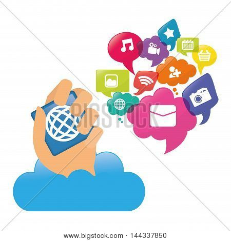 cloud hand mobile apps application online icon set. Colorful and flat design. Vector illustration