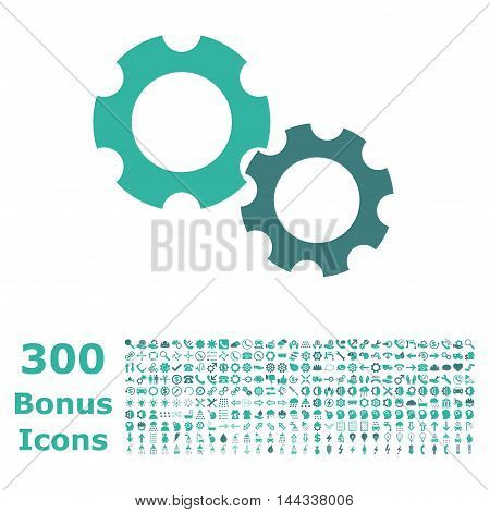 Gears icon with 300 bonus icons. Vector illustration style is flat iconic bicolor symbols, cobalt and cyan colors, white background.