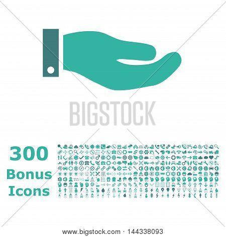 Hand icon with 300 bonus icons. Vector illustration style is flat iconic bicolor symbols, cobalt and cyan colors, white background.