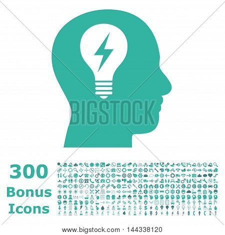 Head Bulb icon with 300 bonus icons. Vector illustration style is flat iconic bicolor symbols, cobalt and cyan colors, white background.