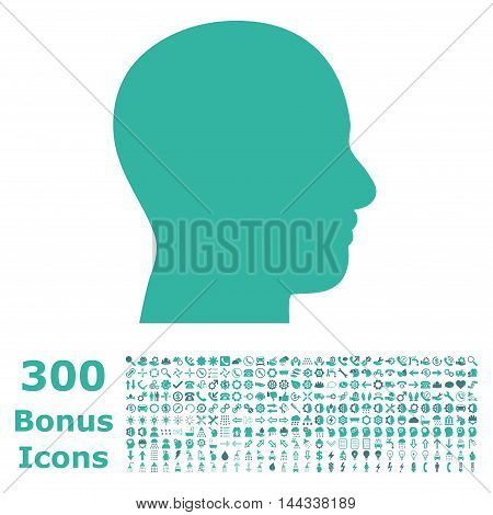 Head Profile icon with 300 bonus icons. Vector illustration style is flat iconic bicolor symbols, cobalt and cyan colors, white background.