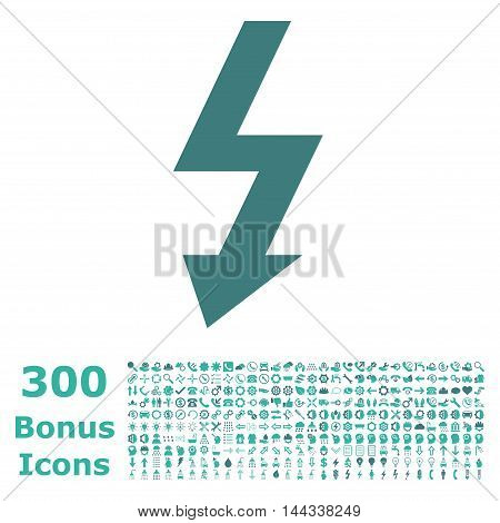 High Voltage icon with 300 bonus icons. Vector illustration style is flat iconic bicolor symbols, cobalt and cyan colors, white background.