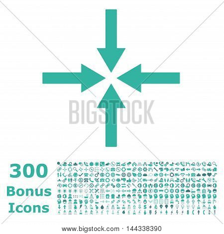 Impact Arrows icon with 300 bonus icons. Vector illustration style is flat iconic bicolor symbols, cobalt and cyan colors, white background.