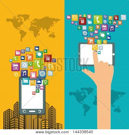 smartphone city hand map mobile apps application online icon set. Colorful and flat design. Vector illustration