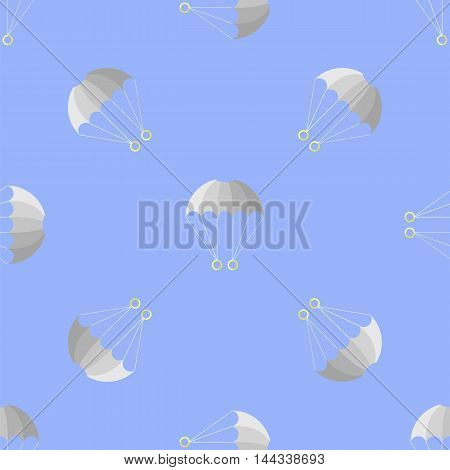 Parachute Seamless Pattern on Blue Sky. Extreme Sport Background.